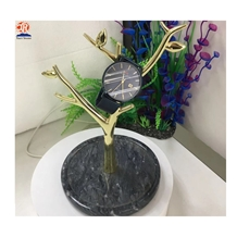 Display Black Marble Base Metal Jewelry Stand