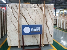 Dragon/Sofitel Gold Overflowing Marble Slabs Tiles