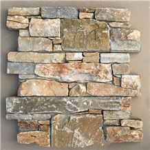 Gold Slate Ledged Stone Veneer Stacked Claddings