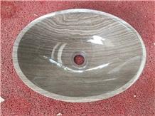 Grey Wood Marble Round Sinks Stone Wash Basin