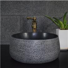 Indoor Polished Black Stone Round Bathroom Sink