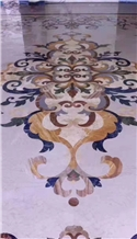 Marble Waterjet Pattern Medallions Floor Lobby Use