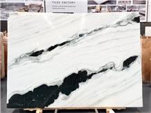 Panda White Marble Slab, Landscape Painting Marble