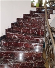 Red Marble,Rosso Levanto Marble Floor Staircase