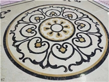 Round Marble Waterjet Pattern Floor Bobby Use
