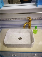 White Marble Square Basin Sink