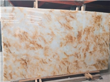 Yellow Flower Onyx Backlit Bookmatch Slabs&Tiles