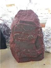 Aegean Bordeaux Marble Boulder Gravestone