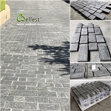 G684 Black Basalt Granite Cobble on Meshed Mats