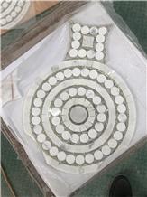 Bianco Carrara White,Mixed Glass Mosaics