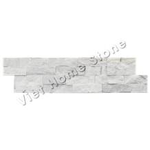 Mixed Chips Milky White Marble Wall Cladding Stone Veneer