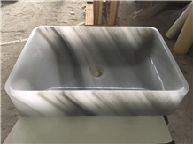 China Cloudy White Marble Square Light Grey Basins