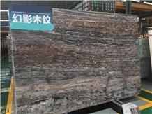 Da Vinci Brown Wooden Marble Slab for Table Vanity