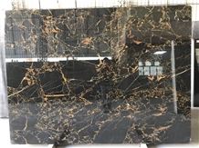 Fantasy Black Gold Flower Marble Yellow Stripes