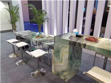 Green Wave Marble Pilbara Bar Table Top