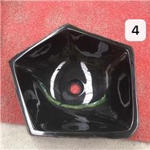 Tobaru Ishi Black Polished Outdoor Polygon Sinks