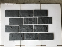 China Black Slate Tiles, Mushroom Face for Walling
