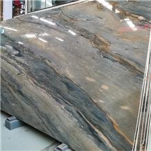 Blue Santorini Quartzite for Bookmatched Wall Slab