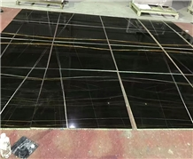 Black Gold Vein Sahara Noir Marble Flooring Tiles