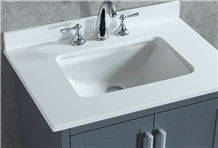 Pure White Recycled Glass Quartz Stone Bath Tops