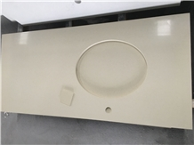 Beige Crushed Recycled Glass Stone Vanity Top