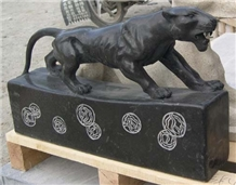 Black Granite Natural Stone Leopard Sculptures