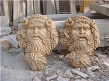 Yellow Granite Natural Stone Head Statues Outdoor