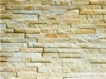 Yellow Split Surface Marble Wall Panel