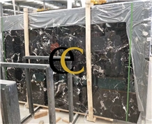 Century Black Ice Marble Slabs Tiles Floor Wall
