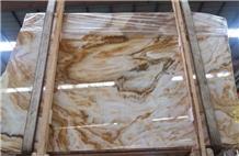 China Linglong Jade Yellow Marble Slabs Tiles