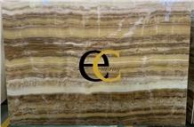 Turkey Tiger Skin Beige Onyx Slabs & Tiles