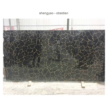 Black Gemstone Wall Tiles Obsidian Composite Slab