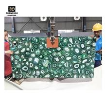 Luxury Green Agate Slab Gemstone Wall Panels Tiles
