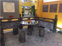 China Multicolor Red Granite-Three Gorges Wave Granite Outdoor Table Set