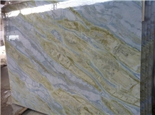 Blue River Ocean Green Marble Lemon Ice Slab,Machine Cutting Tiles for Panel Floor Covering,Wall Cladding Skirting French Pattern