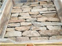 China Gold Slate Wall Stone Cladding Bricks