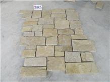 China Yellow Loose Castle Stone Corner Wall Facade