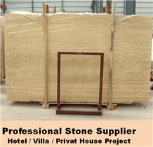Roman Beige Travertine,Honed Cream Travertine Slab