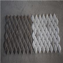 Diamond Shape with Black Dots Water Jet Mosaics