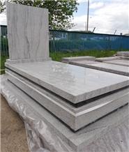New Design Europe Upright White Granite Tombstone