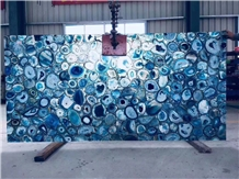Semiprecious Stone Slab Blue Agate Gemstone Slab