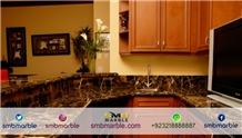 Pakistani Black & Gold Marble Kitchen Countertop, Island Top