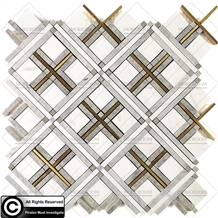 White Marble Bathroom Mosaic Tiles Wall Panel