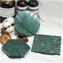 Black Green and White Carrara Marble Mat,Coaster