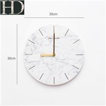 Natural Carrara White Marble Round Wall Clock Gift