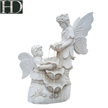 White Marble Garden Water Fountain Stone Angel