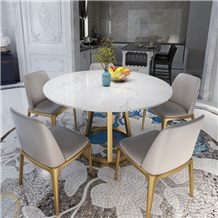 White Marble Top Dining Table Set