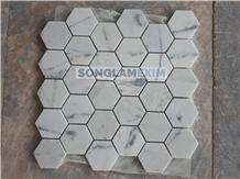 Milky White Marble Honed Hexagon Mosaic