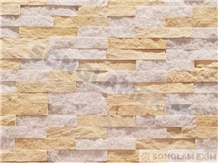 Mix Yellow and White Marble Wall Panel Stone