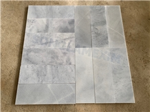 Sandblasted Silver Cloudy Grey Marble Tile